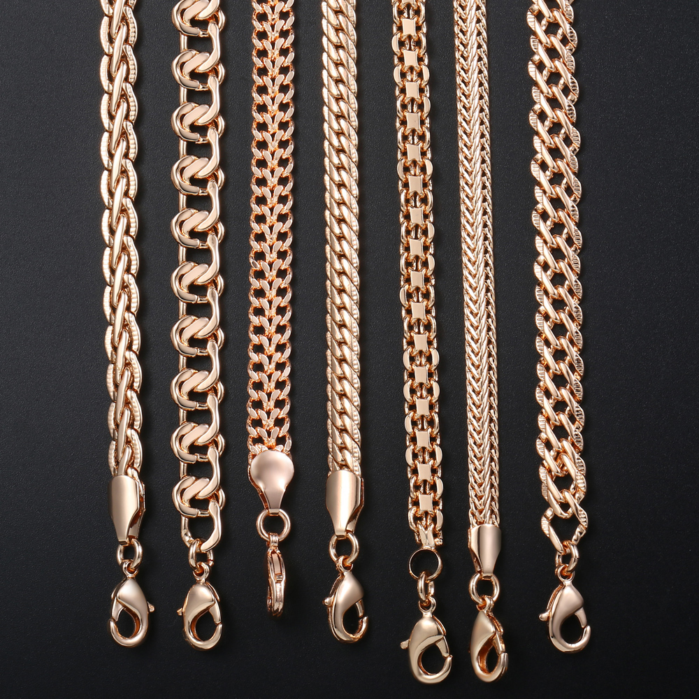 Personalize Necklace For Women Men 585 Rose Gold Venitian Curb Snail Foxtail Link Chains Necklace Fashion Jewelry 50cm 60cm CNN1 2