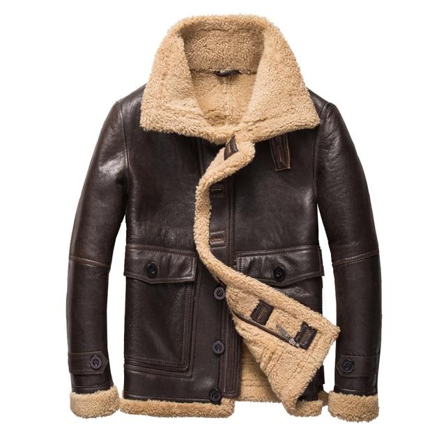 b720d855ae0 Fashion Real Sheepskin Fur Coat Genuine Full Pelt Sheep Shearling Male  Winter Jacket Brown Men Fur Outwear Extra big size 5XL