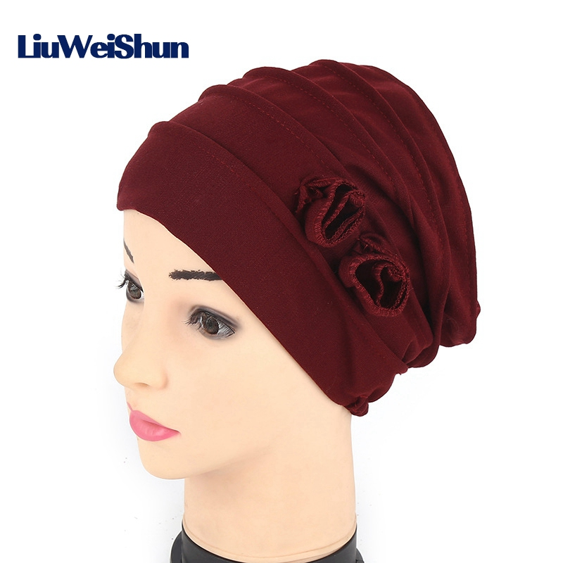 Cancer Chemotherapy cap Patient Cap Scarf hat Muslim solid color Turban Head Wrap Cap Knitted hat Double Flower Beanie Hats viruses cell transformation and cancer 5