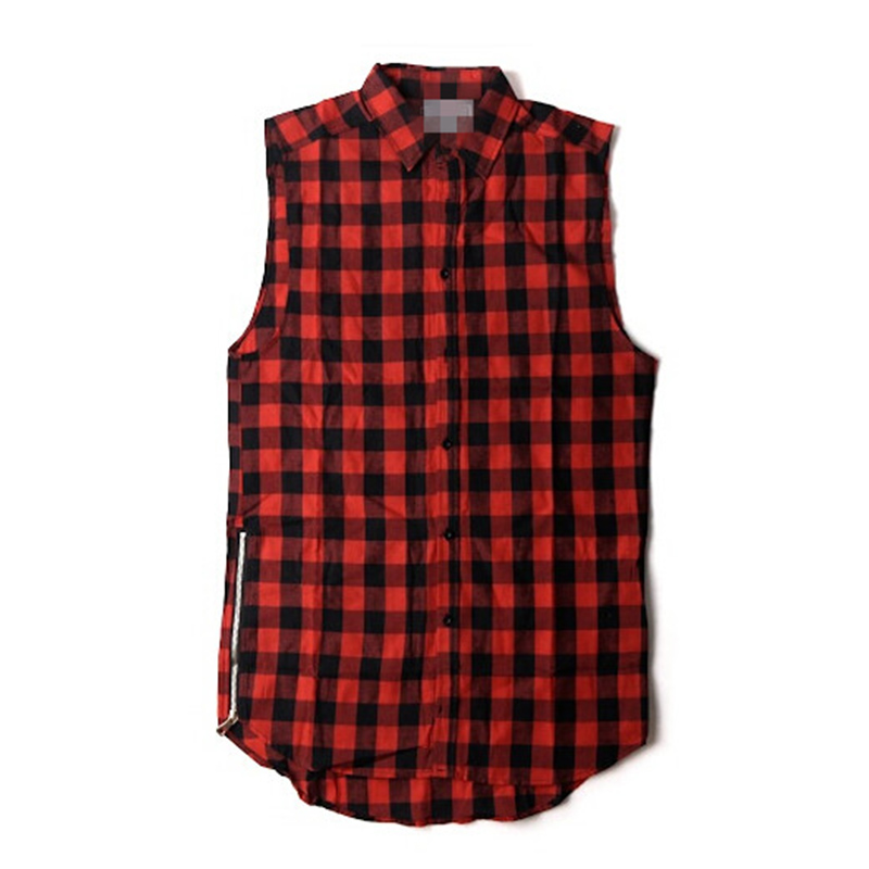 Hip Hop Gold Side Zipper Plus size Plaid Flannel Shirt Tee Men Casual Zipper Turn Down