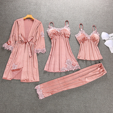 4 Pieces Women Winter Autumn Robe Set Velour Warm Sleepwear Set Lace Pajamas Fashion Nightwear Set Sexy Home Clothing july s song 4 pieces velvet warm pajamas set women sexy lace sleepwear pajamas suit winter sling nightdress woman nightwear