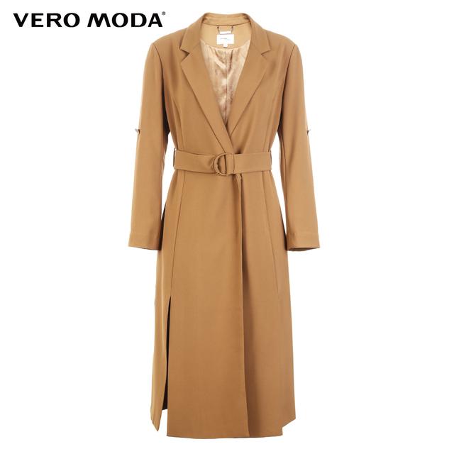 Vero Moda Women's Slim Fit Split Hemline Single-button Wind Coat   318421503
