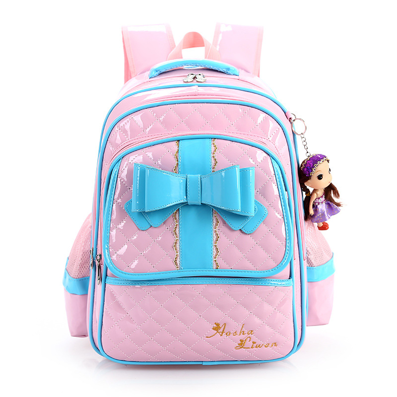 New Kids Children Backpacks School Girls Princess Schoolbag Book Bags Bow designer Rucksack Package Bagpack Mochila Escolar 2016 new kids cartoon ice queen schoolbag girls boys printed princess backpacks children s zipper notebook bag