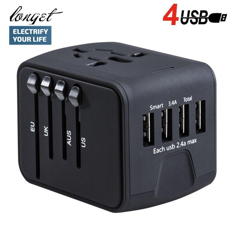 LONGET Adaptador de Energia Adaptador de Viagem Internacional Universal All-in-one com 3.4A 4 USB Carregador de Parede Em Todo O Mundo para REINO UNIDO/UE/UA/Ásia