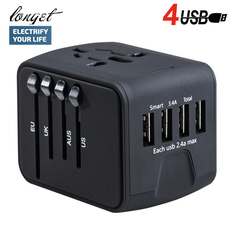 LONGET Travel Adapter International Universal Power Adapter All-in-one with 3.4A 4 USB Worldwide Wall Charger for UK/EU/AU/Asia