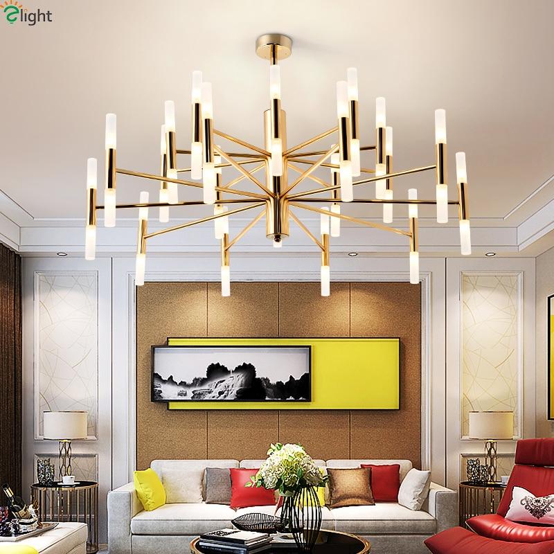 Modern Lustre Gold Metal Led Pendant Chandelier Lights Acrylic Rods Living Room Led Chandeliers Lighting Hanging Light Fixtures