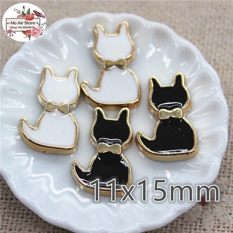 50pcs 11x15mm White/black Plastic Cat Flatback Button Bead Decoration Craft Scrapbook Accessories