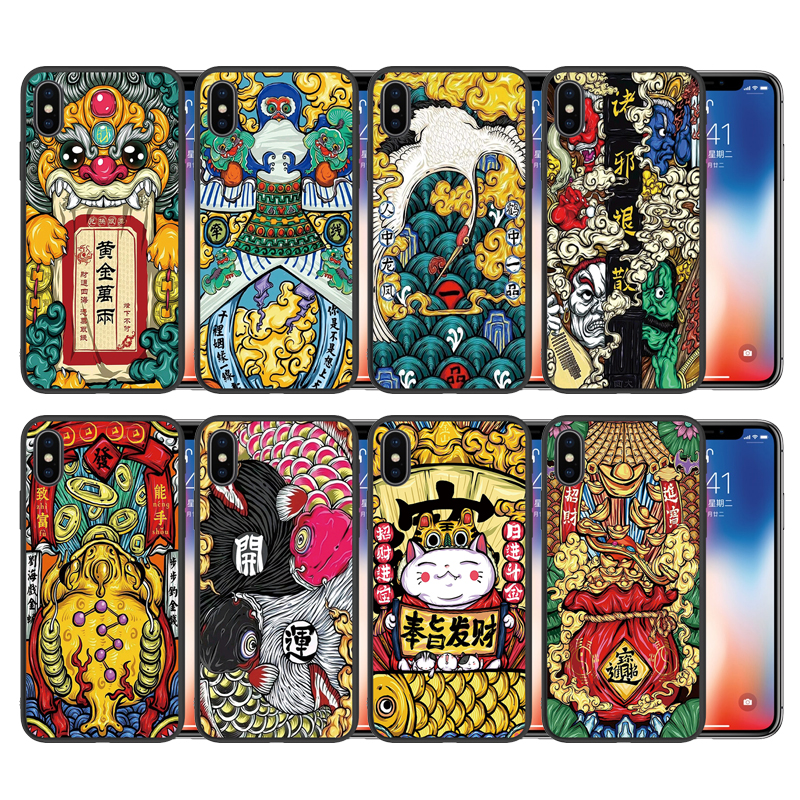 Black Silicone Case for iPhone X God Of Wealth Phone Cases Cover Coque Fundas