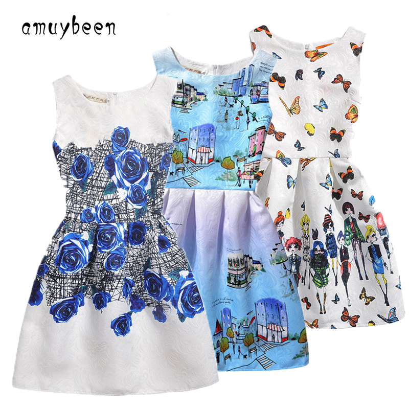 Amuybeen 2017 New Year Kids Summer Christmas Princess Casual Print Pattern Party Girls Dress Children Clothes Baby Girl Dresses new fashion baby girls dress with cap kids clothes lemon print princess dress girl party dresses for children summer dress