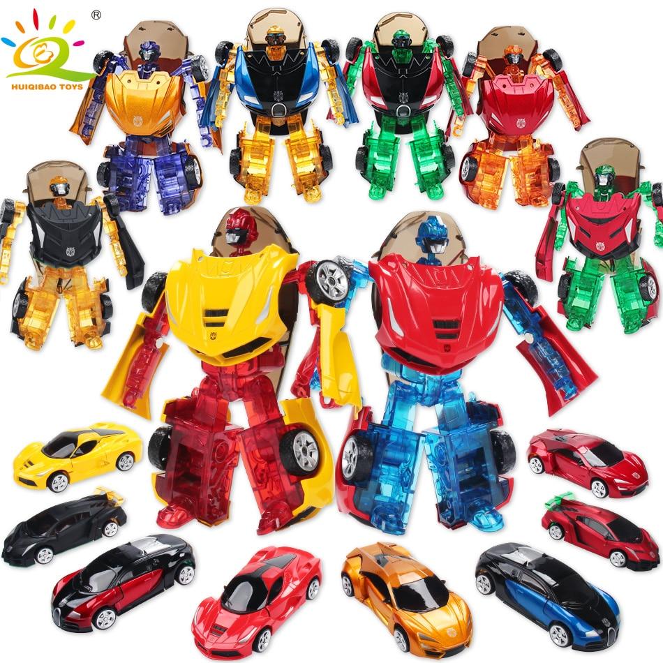 HUIQIBAO juguetes 16 cm transformación coche deportivo de aleación Metal deformación Robot figura de acción de juguete educación juguetes para niños 8 Color