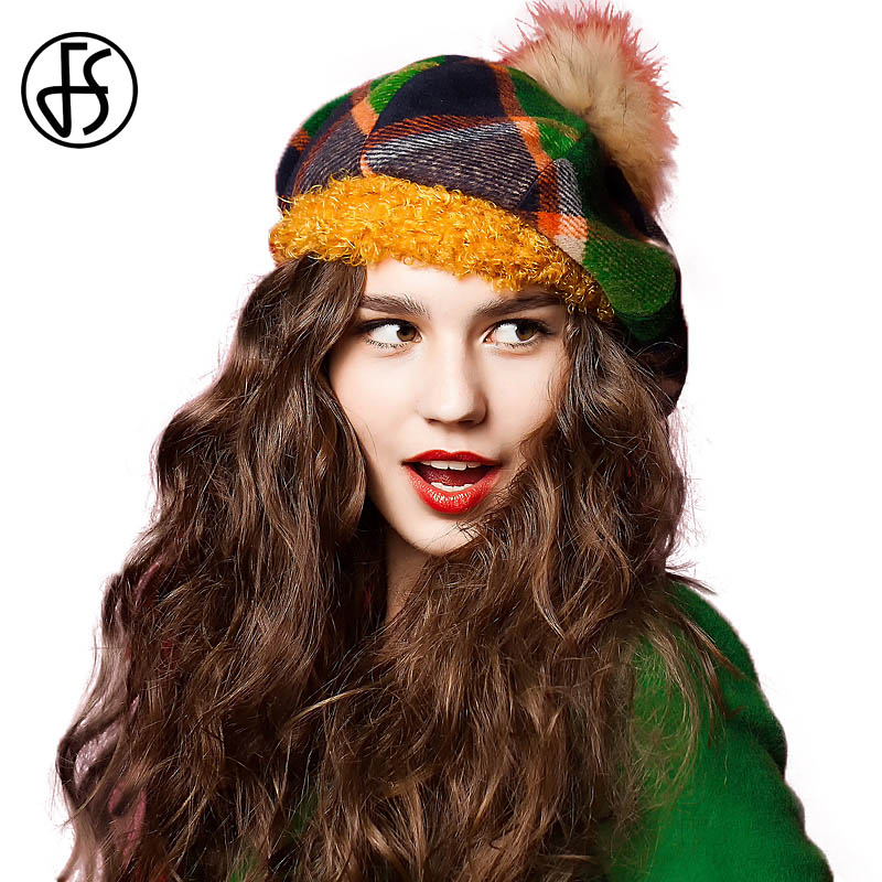 FS French Plaid Beret Hat For Women Winter Large Raccoon Ball Scottish With Pom Pom Hats Fashion Ladies Painter Cap