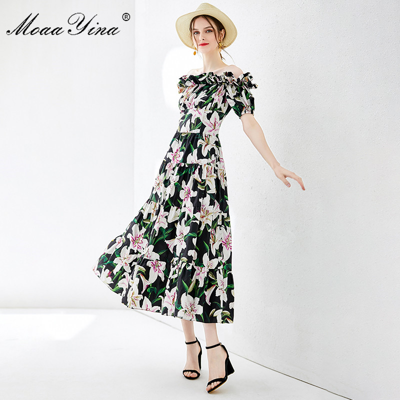 MoaaYina Fashion Designer Runway dress Spring Summer Women Dress lily Floral Print Elegant Cotton Dresses-in Dresses from Women's Clothing    2