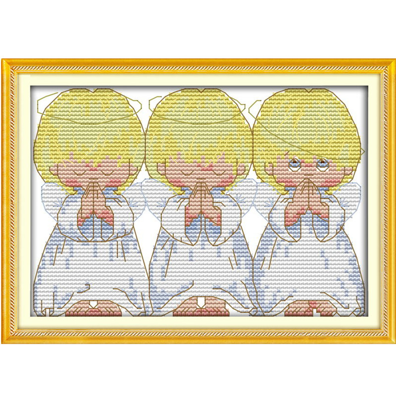 Kruissteek Canvas Schilderij Cartoon Engeltjes Geteld - Kunsten, ambachten en naaien