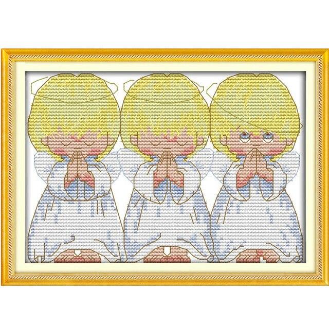 Cruz pintura dibujos animados pequeños ángeles contados Cruz puntada ...