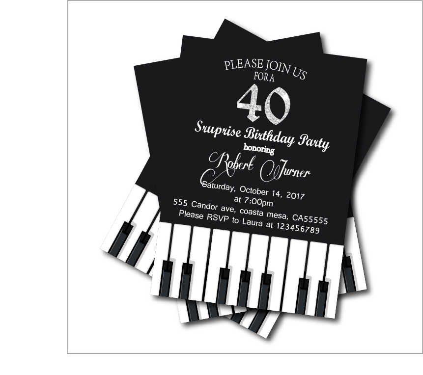 Detail Feedback Questions About 20 Pcs Lot Adult 40th Birthday Party Invitations Piano Invites Custom Any Age Kids Decoration