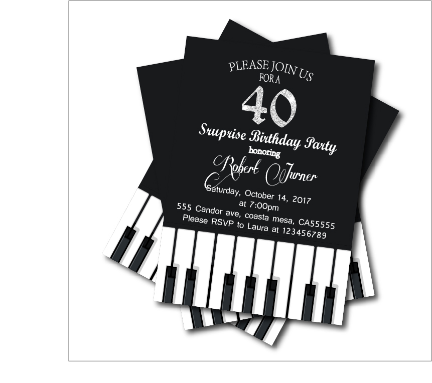 20 pcs/lot Adult 40th Birthday Party Invitations Piano Party Invites ...