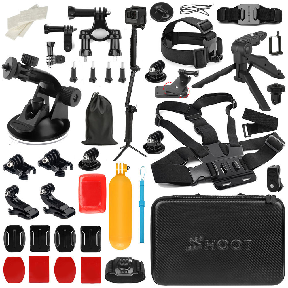 SHOOT for GoPro Accessories Set Tripod Selfie Stick Strap Mount for Go Pro Hero 7 6 5 4 SJCAM SJ7 Eken H9 Xiaomi Yi 4K Accessory shoot jaws flex clamp mount for gopro hero 7 6 5 xiaomi yi 4k sjcam eken h9r with bucket tripod holder for go pro hero accessory
