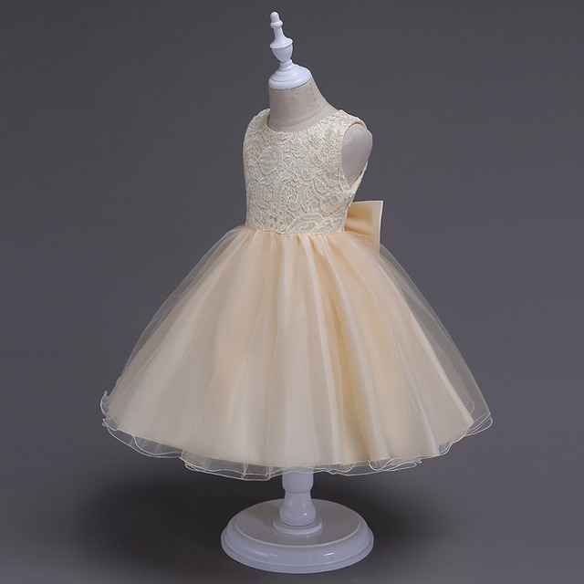 Girls Dress Mesh Pearls Children Wedding Party Dresses Kids Evening ...