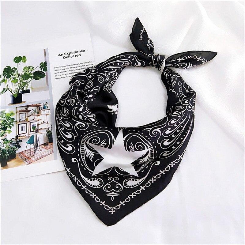 Fashion Women Elegant Handkerchief Foulard Femme Square Silk Scarf Skinny Retro Head Neck Hair Tie Band Bandana Scarf