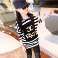 Spring and Autumn 2016 children's clothing girls big virgin new baby boy striped T-shirt printing T-shirt 3-12 years