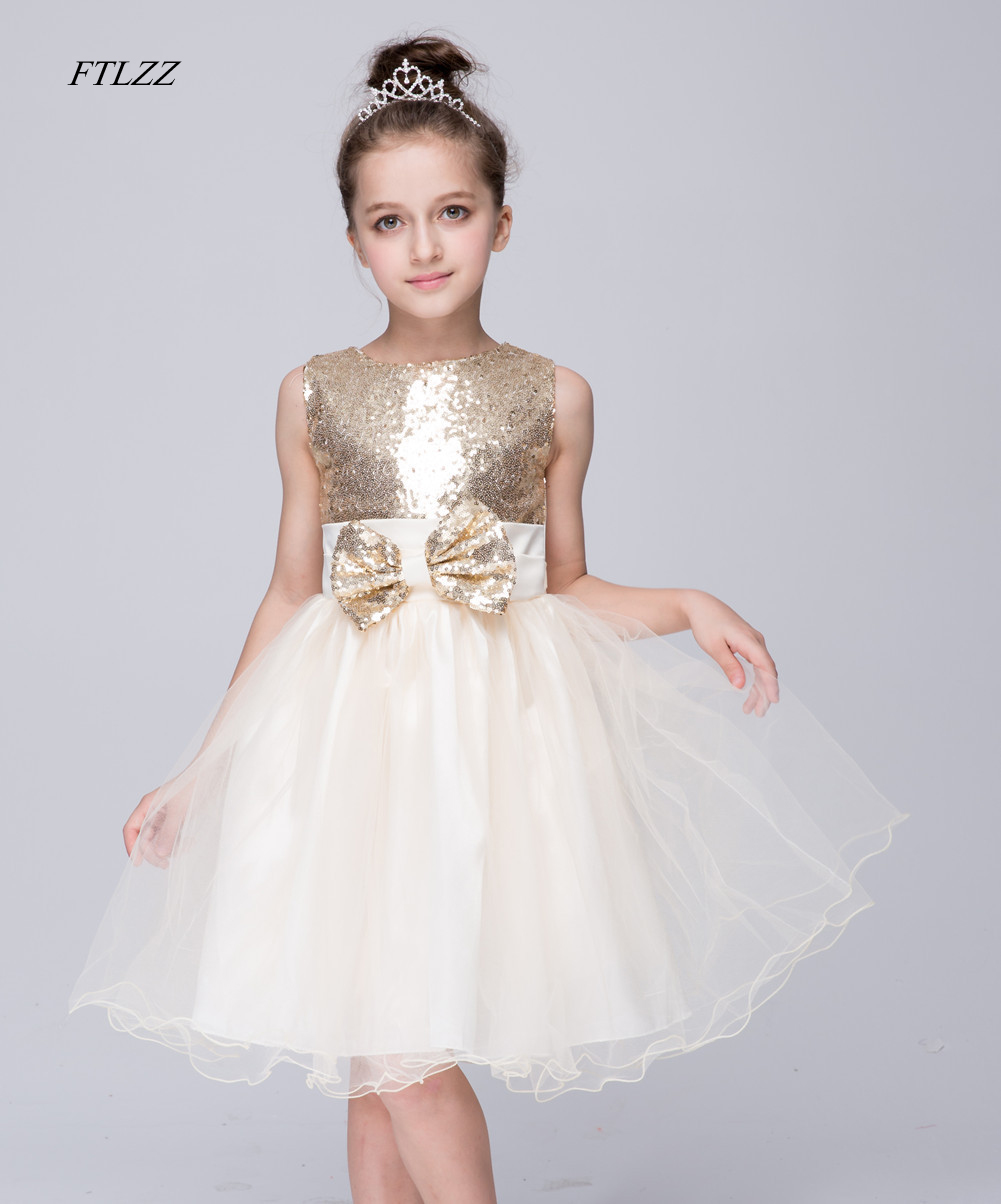 Flower Girl Vest Dresses Beige Sequined Tulle Wedding Party Dress 2018 Summer Fashion Sleeveless Bow Princess Dresses Clothes spring summer 2018 children girl clothes sequined top red sky blue purple princess formal girls hot pink dresses tulle bow
