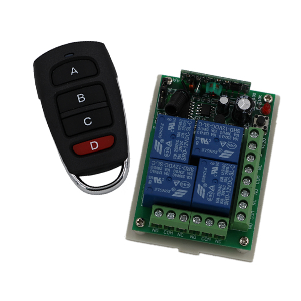 New DC24V 315/433MHZ RF 4CH Wireless Remote Control System Receiver + Transimitter with 4Key Wireless Switch for Smart Home wireless pager system 433 92mhz wireless restaurant table buzzer with monitor and watch receiver 3 display 42 call button