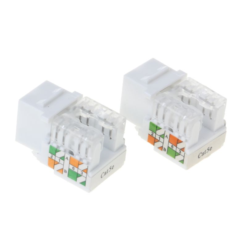 2Pcs CAT5e Network Module Information Socket RJ45 Ethernet Cables Module Plug Network Connector Adapter Cat5e Gold Plated Keysto