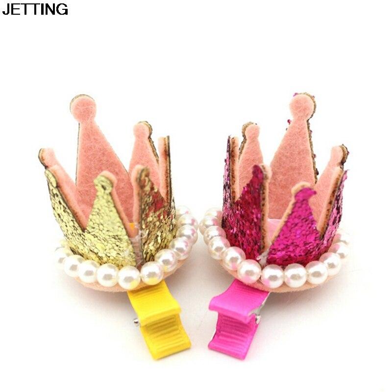 New Princess Crown Hairpins Hair Accessories Resin Diamond Gliter Pearls Girls Tiaras Headwear Xmas Dancing Party Hair Clip