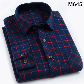 EYM Brand Flannel Plaid Shirt Men Cotton 2018 Autumn New Male Casual Long Sleeve Shirt Plus size High Quality Warm Man Clothes 5