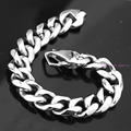 17mm Wide Polishing Silver Tone Cuban Curb Link Chain Stainless Steel Bracelet 7-11inch Custom Sizes Biker Men Cuff Gift Jewelry