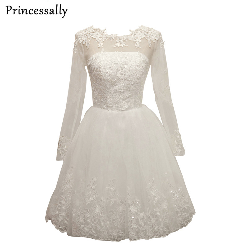 Robe de mariage new short wedding dress white full sleeve for Cute short white wedding dresses