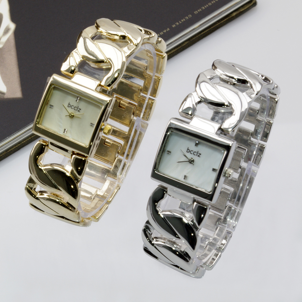 Luxury Brand Chain Bracelet Square Face Quartz Analog Watch Fashion Leisure Style Lady