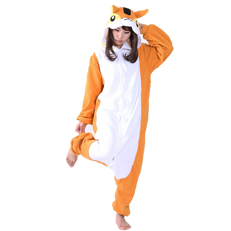 JINUO squirrel Animal fleece fantazi gecelikler cosplay Pajamas onesie women pijamas ent ...