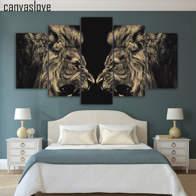 HD 5 Pieces Canvas Paintings Printed Animal Art Lion Wall Art Canvas  Modular Living Room Bedroom