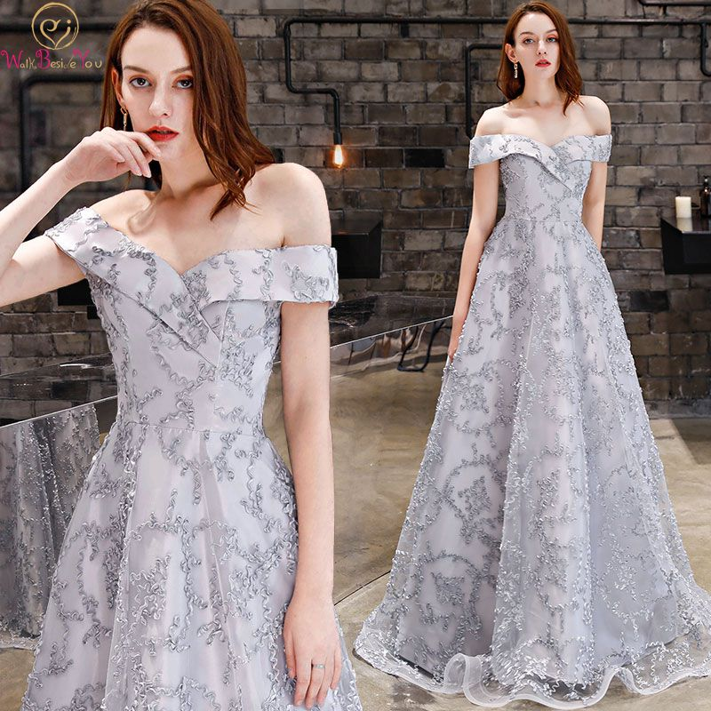 Walk Beside You Gray   Evening     Dresses   2019 Lace Long Off Shoulder Sweetheart   Evening   Gowns Prom   Dress   Ladies Black Formal   Dress