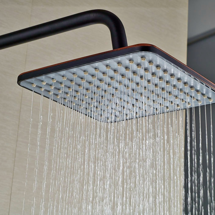 Oil Rubbed Bronze Rainfall Shower Units Single Lever With Hand Shower Exposed Bath Tub Shower Set