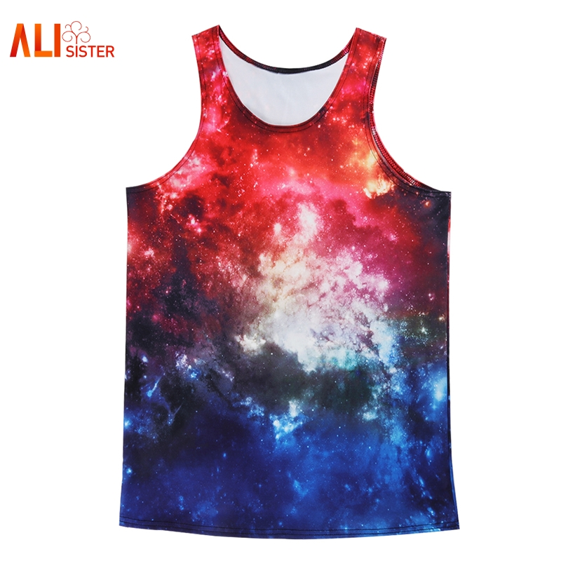 a826be7c55b Alisister Men s Tank Top Galaxy Space 3d Print Sleeveless Singlets Stringer Fitness  Casual T Shirts Top Tanks Muscle Undershirts