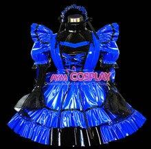New Arrival Custom made Sexy Sissy Maid Blue Dress PVC Lockable Uniform Cosplay Costume