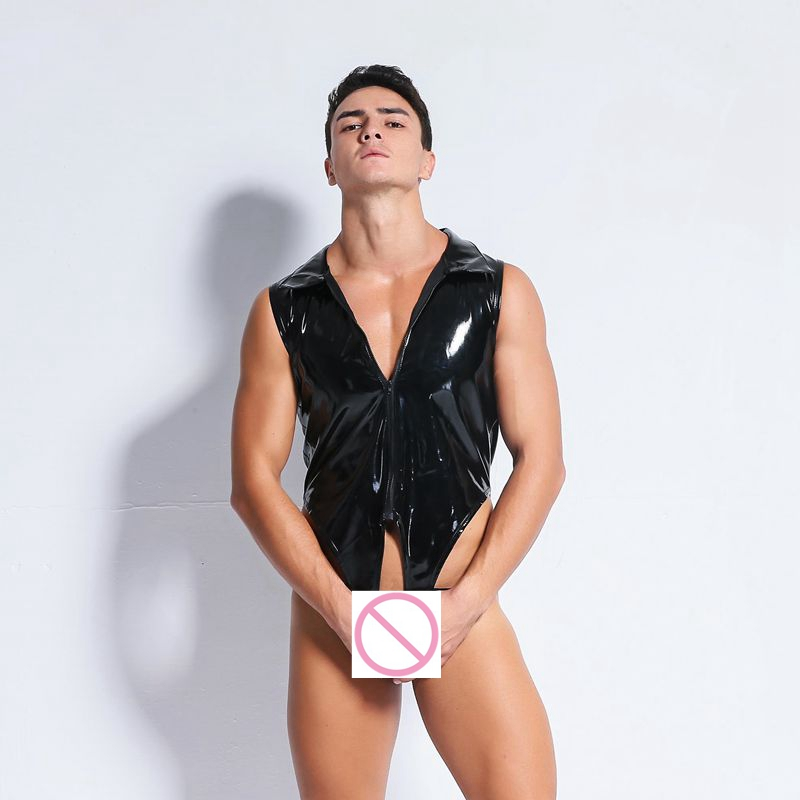 CFYH  Sexy Lingerie Faux Leather Latex Hollow Bodysuit Gay Underwear Stage Corsets Men Body Open Crotch Jumpsuit PVC Clothes