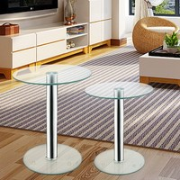 Set Of 2 Coffee Tables Small Large Round Clear Glass Side End Lamp Living Room Tables