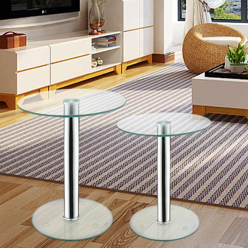 Set of 2 Coffee Tables Small/Large Round Clear Glass Side/End/Lamp Living Room Tables HOT SALE rv5 5 8 round pre insulated end of the cold pressing terminal block small copper nose a package of 500