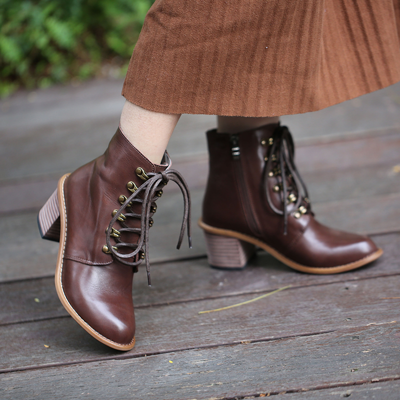 2018 autumn winter lace up female boots real leather pointed head side zipper thick heel half boots warm velvet winter shoes цена 2017