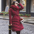 2016 new winter thin tie belt in the long dark cotton padded jacket slim down thickened female