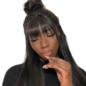 13X6 Lace Front Human Hair Wigs With Bangs Brazilian Straight 360 Lace Frontal Wig Pre Plucked With Baby Hair Remy 180% Venvee