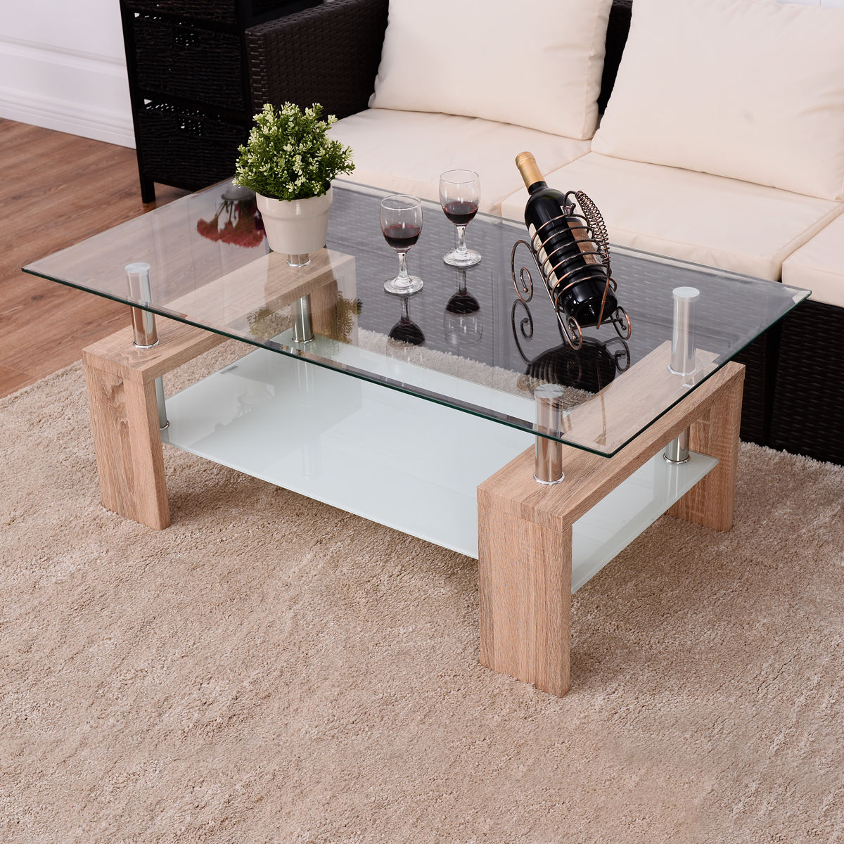 Giantex Rectangular Tempered Glass Coffee Table with Shelf Modern Wood Leg Side Tables Living Room Furniture HW54586SA solid pine wood folding round table 90cm natural cherry finish living room furniture modern large low round coffee table design