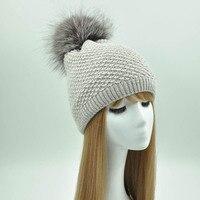 כובע חורף כובע פום פום פרווה האמיתי לנשים סיטונאית 2018 כובע סרוג חם אופנה חדש מותג נקבה פרווה צמר בימס Hat נשים