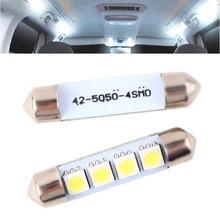 2x42mm 2 4 SMD 5050 w Baixo Consumo De Energia Alta de Ultra Longa Vida Interior Do Carro Cúpula Festão lâmpadas LED Lâmpada Branca 12 v #55332