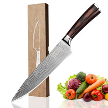 "SUNNECKO 8"" Chef Knife Stainless Steel Mirror Laser Pattern Kitchen Knives Wood Handle Sharp Imitation Damascus Chef Knife(China)"