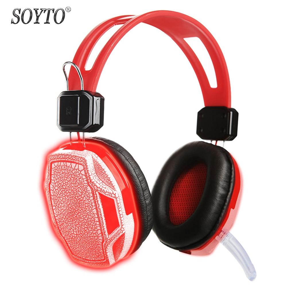 SOYTO SY833MV Originální kabelová herní sluchátka LED světlo Stereo basová sluchátka fone de ouvido sluchátka auriculares s mikrofonem