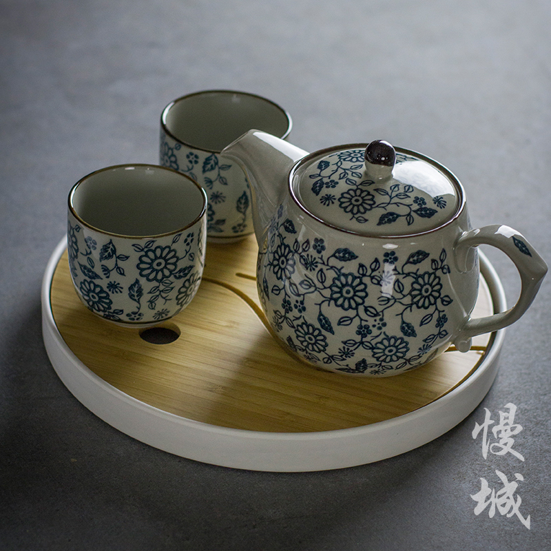 China Jingdezhen blue and white porcelain Kung Fu tea pot teapot c antique ceramic handmade teaware kettle vintage tea set cups